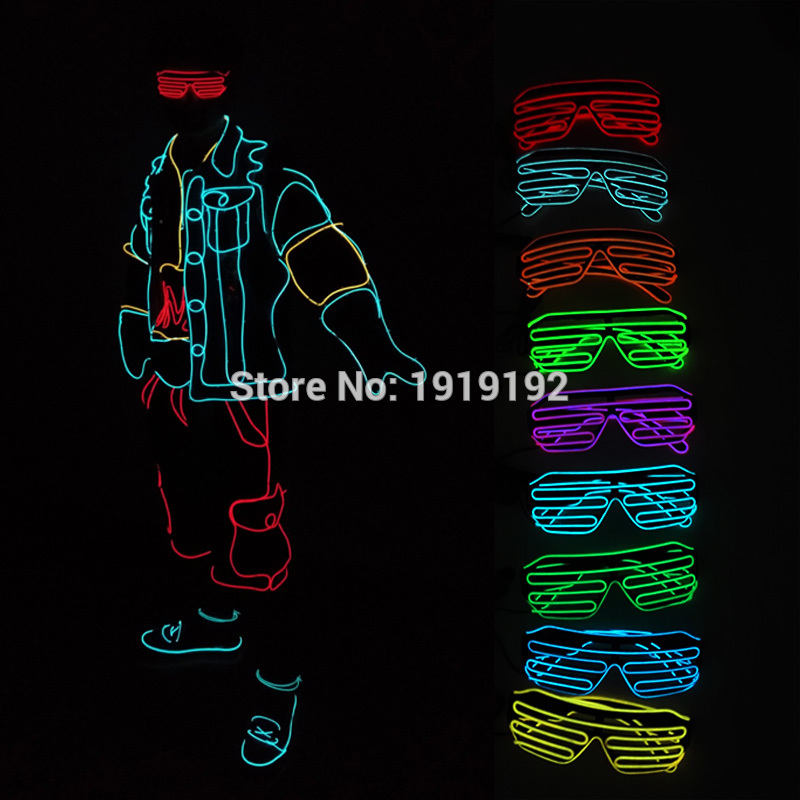 2017 Hot sales Promotion Frame Neon El Wire LED Light Up Shutter Glasses single Color with DC-3V Steady on Controller