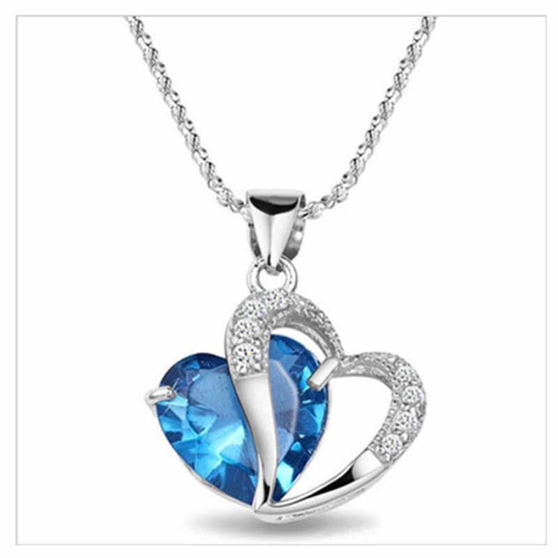 Spiffing Símbolo do coração Pingente de Cristal Real 925 Colar de Prata de Três Cores com Caixa