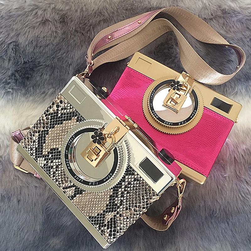 High quality fashion design snakeskin pattern retro camera styling mini shoulder bag messenger bag ladies handbag