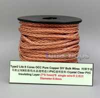 LN006145 Tipo 2 cobre Litz 8 núcleos OCC Chapado en plata a granel de alambre para Shure Fostex QDC ue 1964 auriculares westone