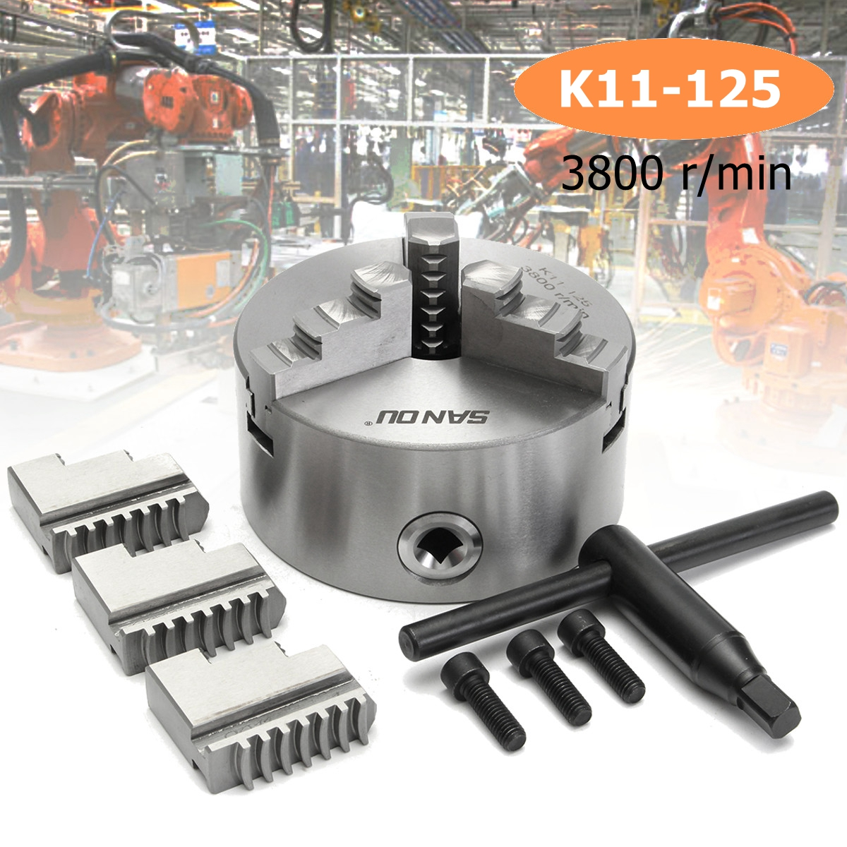 SANOU K11-125 3 Mors Mandrin 125mm Auto Centrage Durci Réversible Outil pour Fraisage De Forage Machine