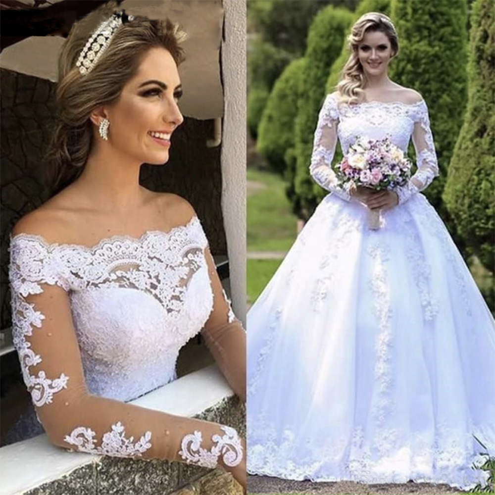 Fansmile Vestido De Noiva Long Sleeve Vintage Lace Ball Wedding Dress 2019 Train Bridal Wedding Tulle Mariage FSM-641T