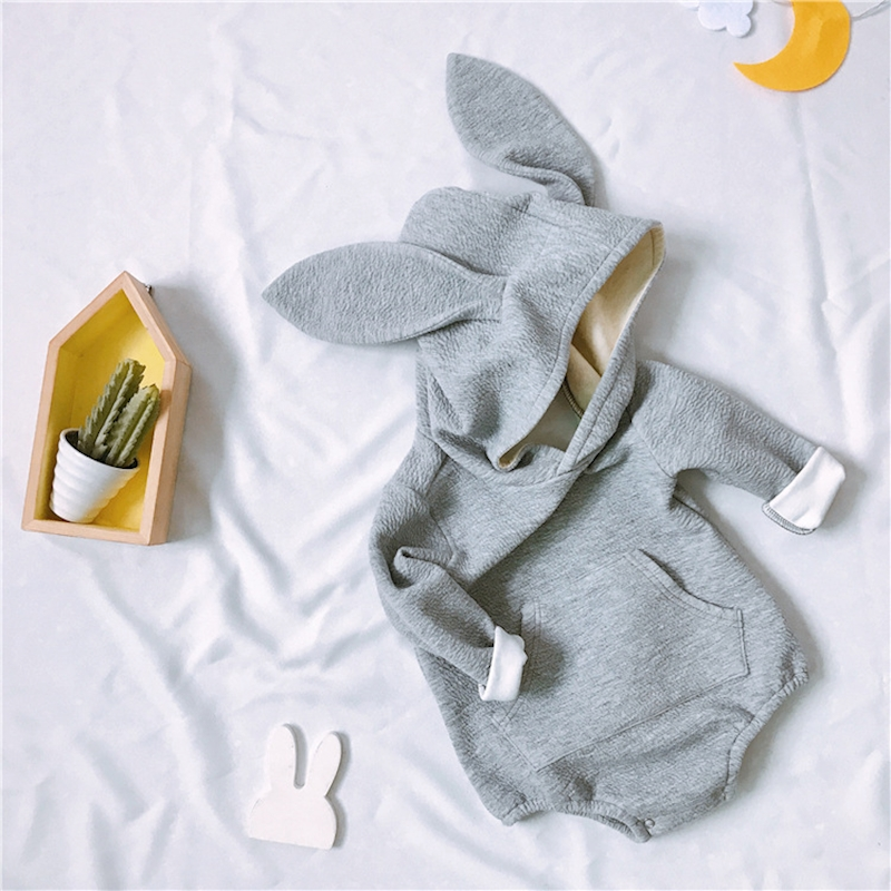 Kawaii Rabbit Newborn Baby   Rompers   Winter Warm Baby boys Girls Clothing Long Sleeve Hooded Jumpsuit Kids Outwear For Kids Gift