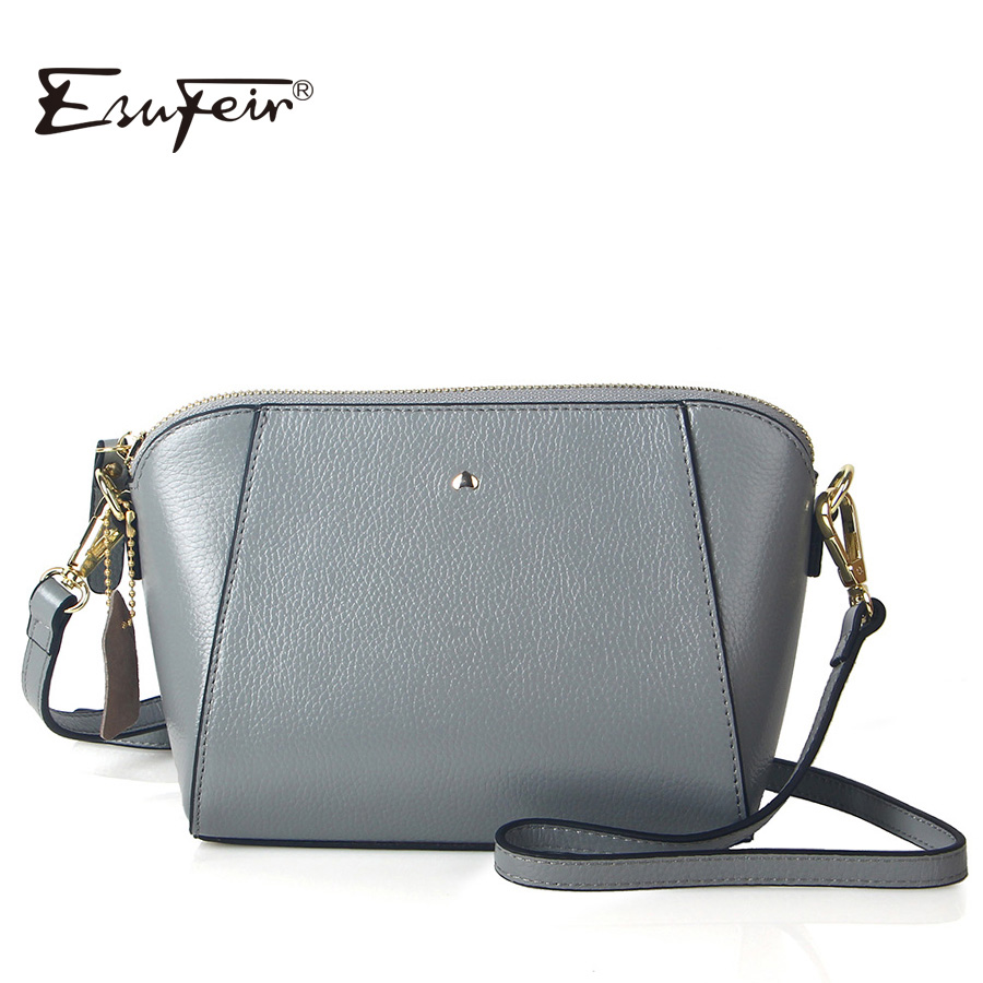ESUFEIR Brand Embossed Genuine Leather Women Messenger Bag Fashion Solid Cow Leather Shoulder Bag Casual Small Bag Crossbody Bag fashionable women casual high quality crocodile embossed genuine leather small mini messenger bag
