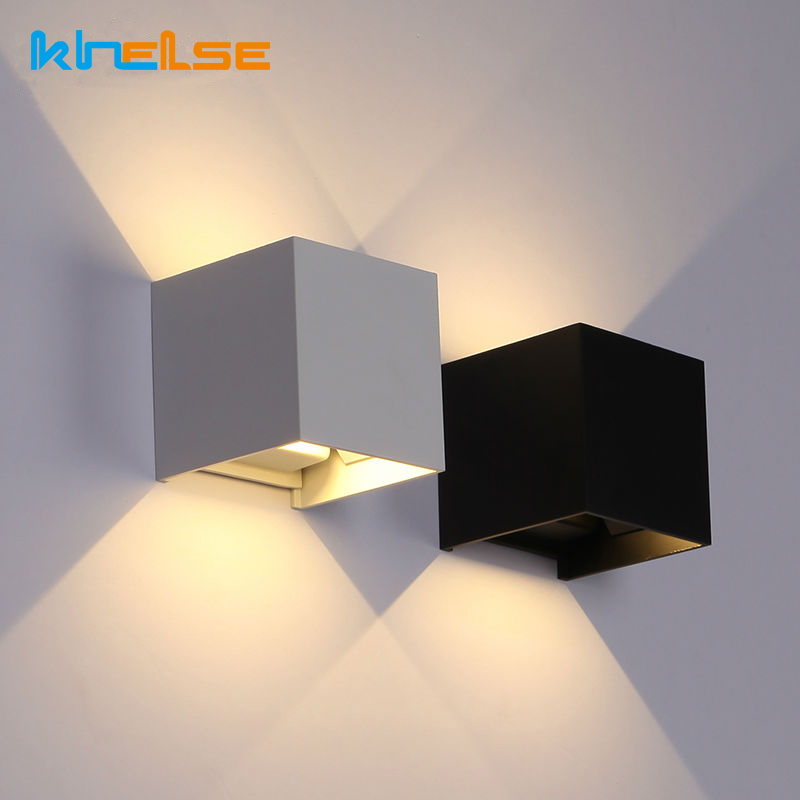 Waterproof 7W 12W LED Wall Light Outdoor Yard Wall Mounted Lamp Indoor Modern Aluminum Adjustable AC90-260V Cube Wall Lighting modern led mirror light 12w 18w waterproof wall lamp fixture 90 260v aluminum wall mounted bathroom lighting sconce wml005