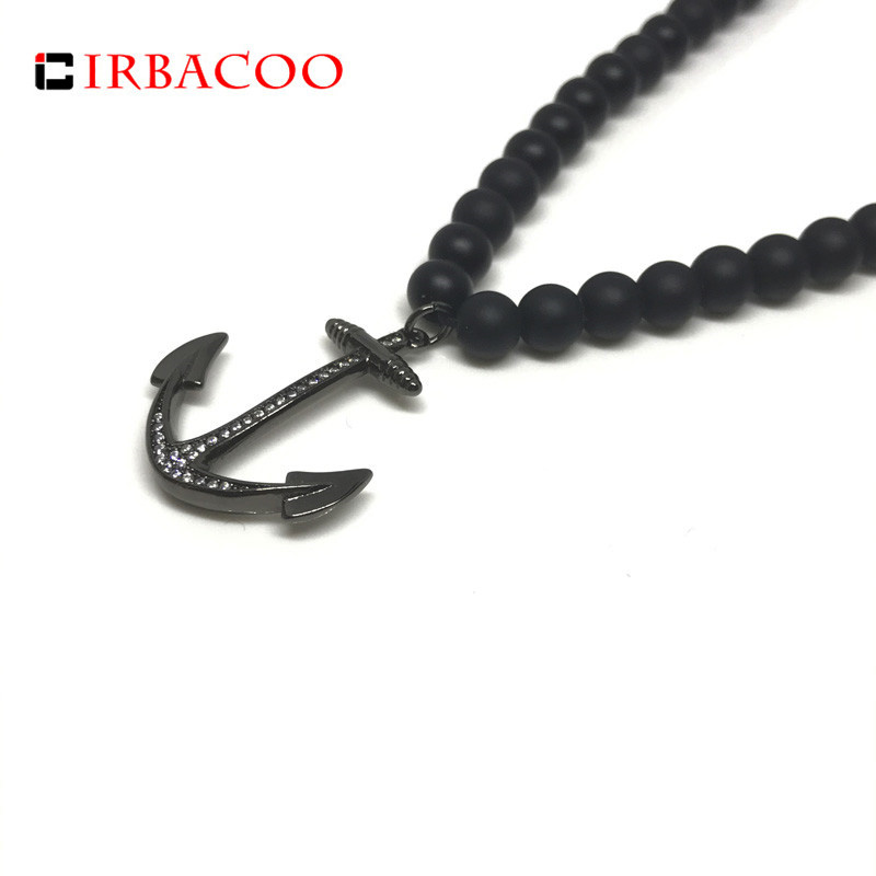 Good Irbacoo 2019 New Fashion Mens Necklace Hamsa Hand Charm Pendant With Matte Onyx Stone For Mens Beaded Necklace Jewelry Gift Jewelry & Accessories