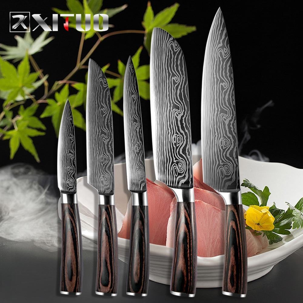 XITUO 5 PCS Kitchen Knives Sets Japanese Damascus Steel Pattern Chef Knife Santoku Cleaver Paring Slicing