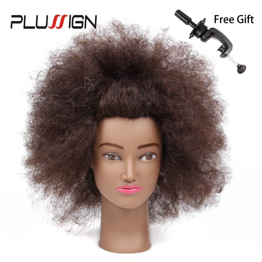 100 Human Hair Mannequin Head African American font b Hairdressing b font Training Head with Clamp