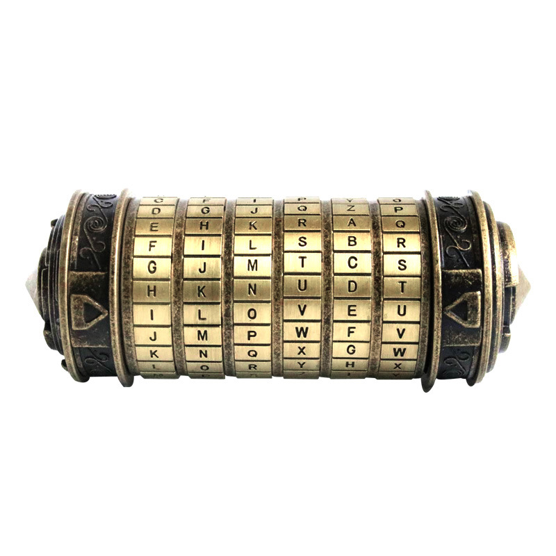 Leonardo Da Vinci Code cylindre Puzzle serrure alliage Zinc Cryptex saint valentin romantique anniversaire cadeaux évasion chambre accessoires