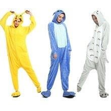 30a774b66fba09 Flanelowe kigurumi stitch unicornio totoro pikachu piżamy onesies dla  dorosłych z długim rękawem z kapturem kombinezony