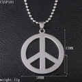 "Mens Big Punk Jewelry Stainless Steel Peace Sign Pendant With 18"" Black Genuinm Leather CXSP181"