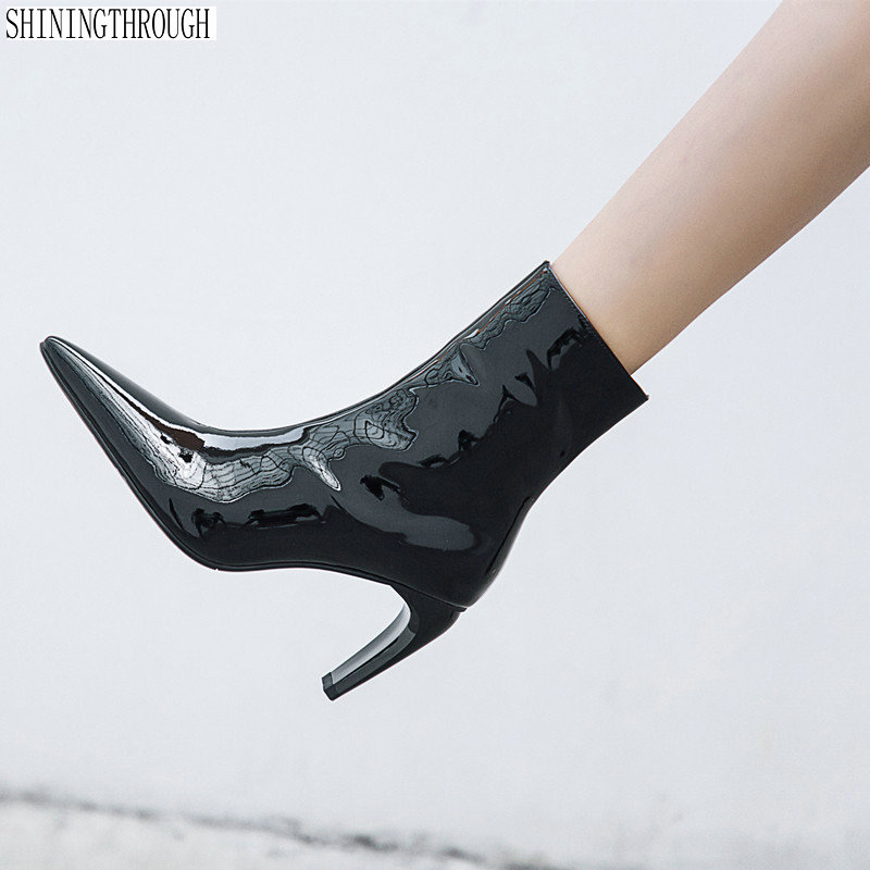 купить 2019 New patent leather boots women pointed toe warm autumn winter ankle boots sexy high heels shoes woman large size 42 43 по цене 3613.89 рублей