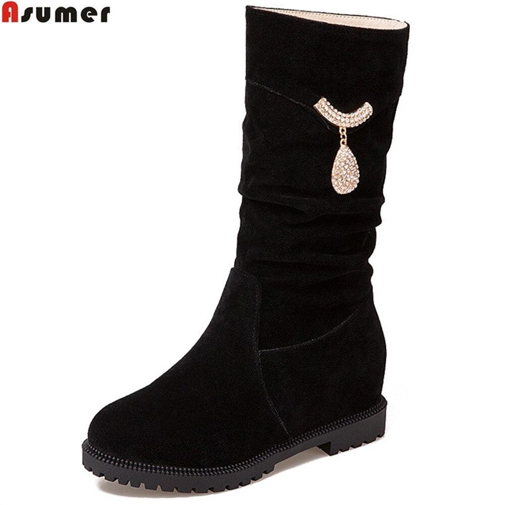 Asumer/модные Новое поступление, женские ботинки черный красный, бежевый цвета на осень-зиму женские сапоги увеличивающие рост из флока Bling до ...