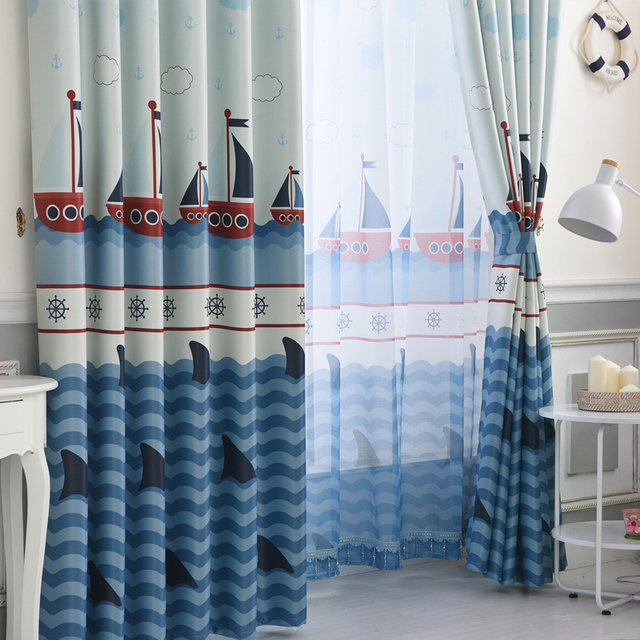 US $31.25 40% OFF|Children Room Blue Sailing Boat Design Mediterranean  Style Curtain Cartoon Boys Bedroom Finished Curtains Window Drapes-in  Curtains ...