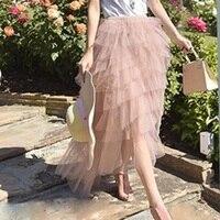 Fashion Black Maxi Skirt Long Puffy Ruffle Tiered Tulle Skirt Korea Street Style Pink Chic Tutu Skirt for Women Elastic Waist