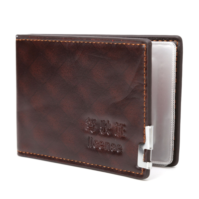 1PC Fashion Men Driving License Wallet ID Credit Card Holder Case Bifold Purse men plaid pu leather wallet light bifold fashion designer credit cards holder clutch id card organizer brand purse for men phd08