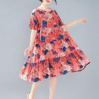 Fashion Loose Stitching Floral Print Dresses 2019 Summer O neck Vintage Big Swing Dress Large Size A line Dress Vestidos CK974