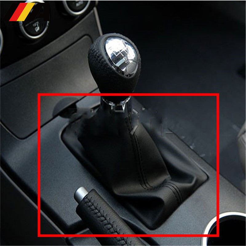 ABS Plastic PU Leather Gear Shift Knob Lever Stick Collar Gaiter Boot Cover Case Car Styling Accessories For Mazda 6 M6