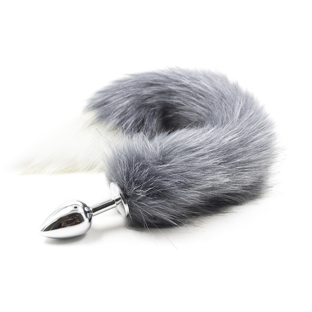 Fetish Stainless Steel Size S Anal Plug Anal Sex Toys ,Butt Plug Grey Animal Cat Fox Tail Sex Toy For Women Roleplay Adult Games