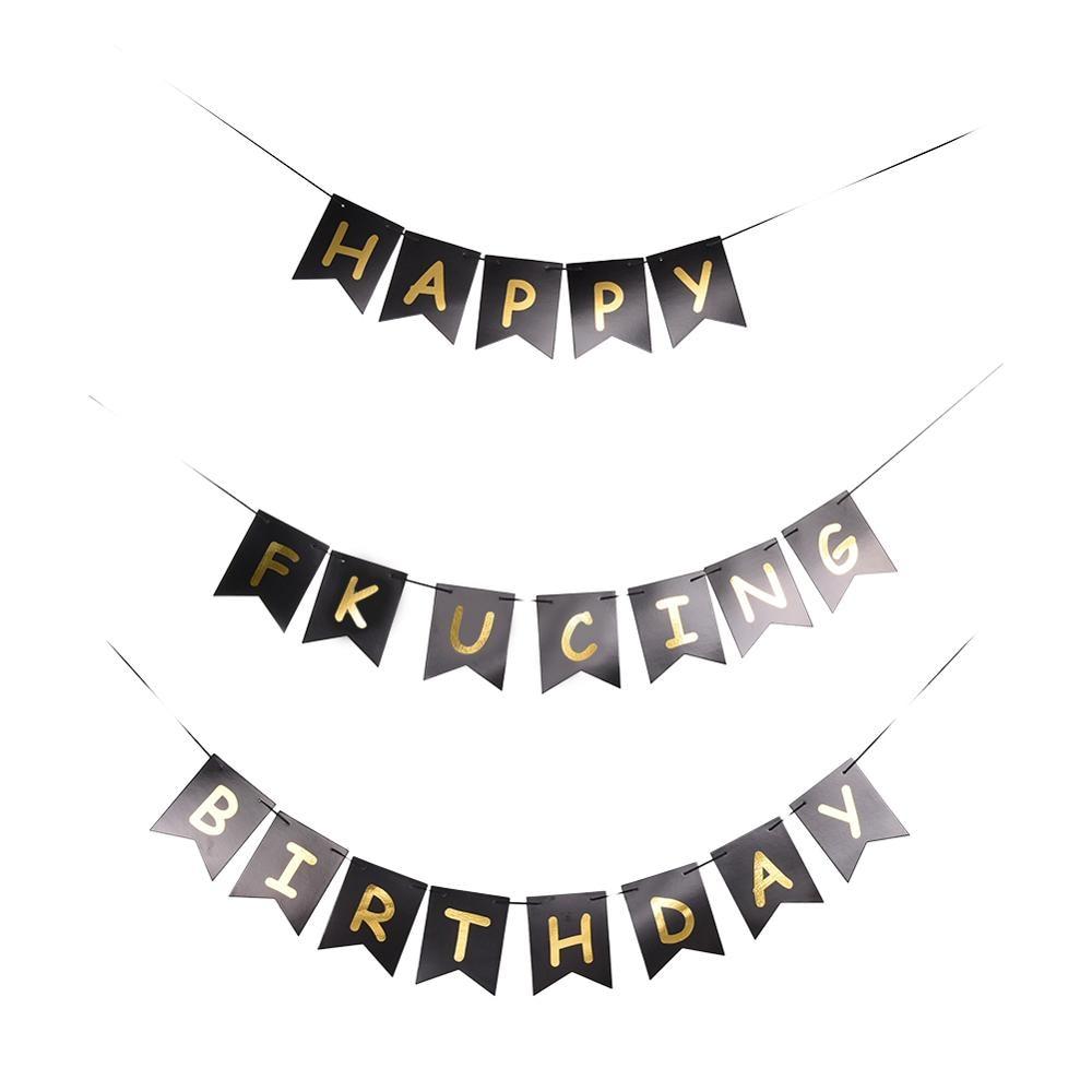 1set Gold Tissue Paper Letter Hanging Garlands Happy Birthday Banner Boy Girl Baby Shower Decoration Party Supplies Decor 996019