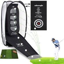 купить Golf practice net and hitting mat Portable Indoor and outdoor golf Training aids free shipping дешево
