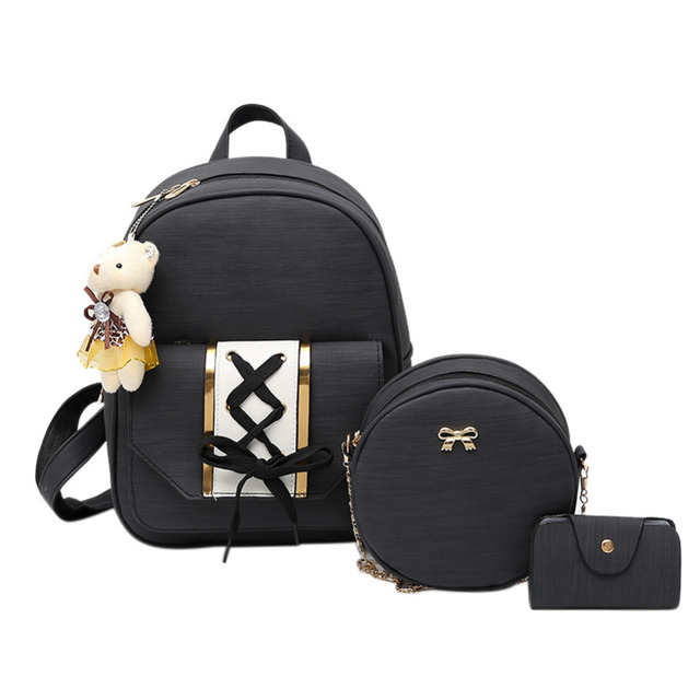 40716f6fff 3Pcs Set Small Back to School Backpacks Cute Feminina Mochila School Bags  For Teenager Girls PU Women Backpacks Shoulder Packs