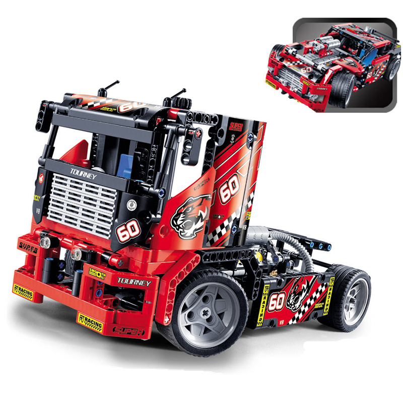 Race Truck Car 2 In 1 608pcs Transformable Styling Model Building Blocks City Sets 3360 DIY Toys Technic Compatible With 42041 608pcs race truck car 2 in 1 transformable model building block sets decool 3360 diy toys compatible with 42041
