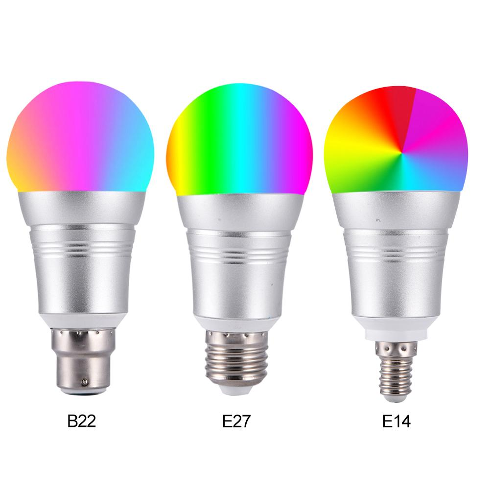 Smart RGB WIFI lamp bulb led Light Bulb E27 E14 B22 Dimmable Color Changing Lights Remote Control Light Bulbs Work With Alexa 40 novelty lights 8 colors changeable e27 wireless bluetooth speaker rgb color smart led light bulb with remote control lamp light