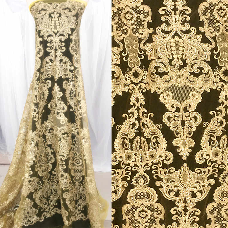 1 Yard/lot sequins embroidered lace fabric 2018 NEW gold lace black lace corded wedding lace fabric with sequins!