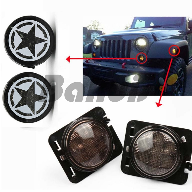 Smoke Lens Yellow LED Front Replacement Turn Signal Light & Fender Side Marker Light Assembly 2007-2017 for  Jeep Wrangler JK JK