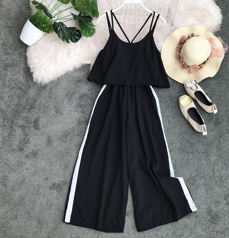 2019 Summer New Korean Women's Wear Loose Casual Wide-legged   Jumpsuits   Women Sexy Overalls G993