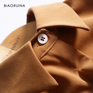 Image 4 - BIAORUINA נשים מוצק אלגנטי ארוך חולצה שמלת אמצע עגל אורך נקבה מקרית צד פיצול שמלת נשים של בציר אונליין שמלה