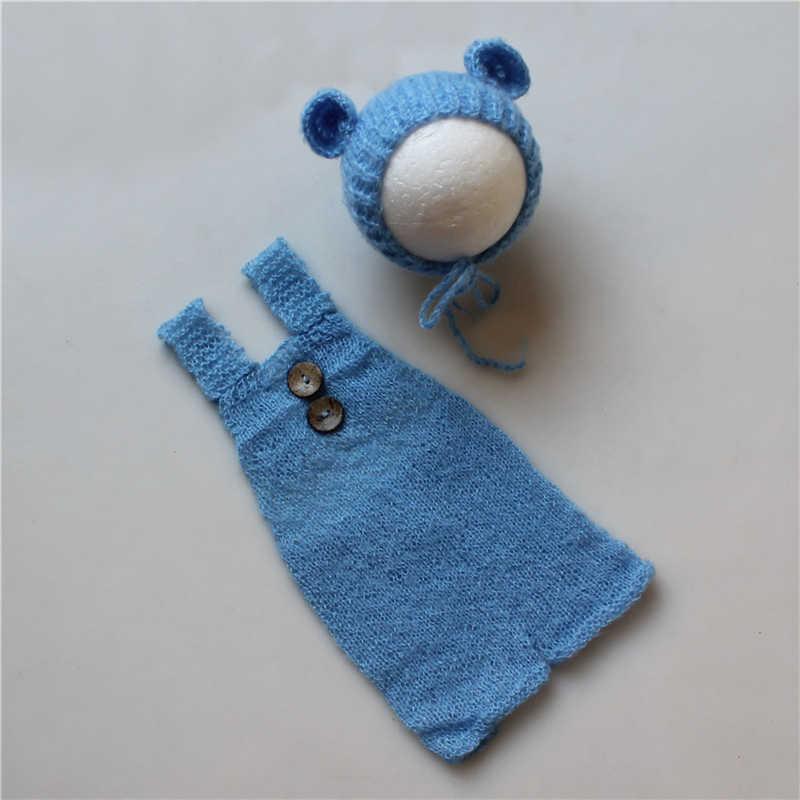 Accesorios de fotografía para bebés recién nacidos, trajes para niños y niñas, conjunto de sombreros y monos de oso lindo, Mohair Bebe, ropa para fotos, Jumsuit