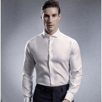 100% Cotton Long Sleeve Shirt Men's High Quality Formal Business Meeting Dress Suit Solid Color Regular Fit Dress Shirt for Men