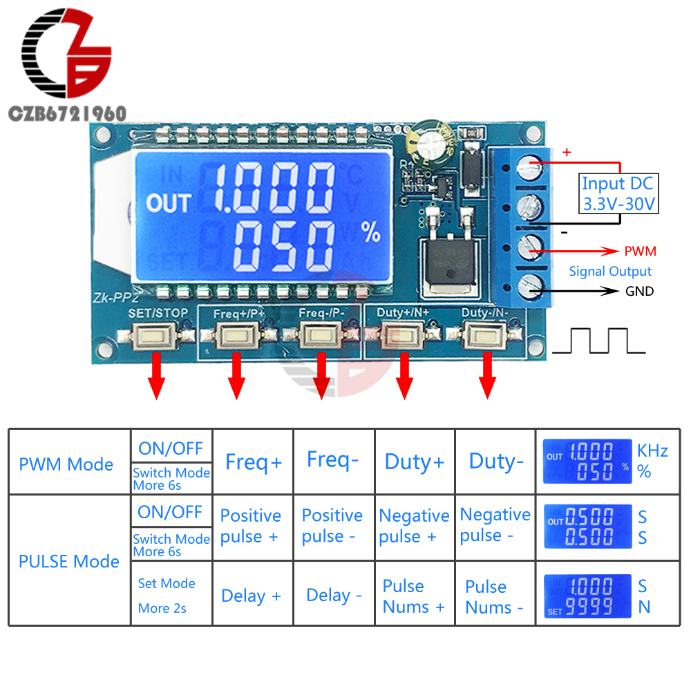 Adjustable PWM Pulse Signal Generator 1CH 1-150KHz 8A Driver Module LCD Frequency Duty Cycle For LED Light Motor Solenoid Valve
