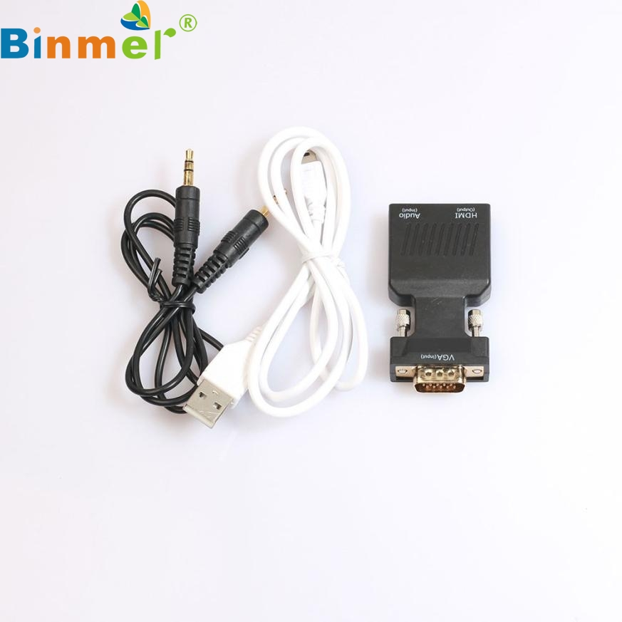 Top Quality 1pc 1080P VGA Male to HDMI Female Video Adapter W/ 3.5mm Audio / Mini USB With Charging Cable DEC18