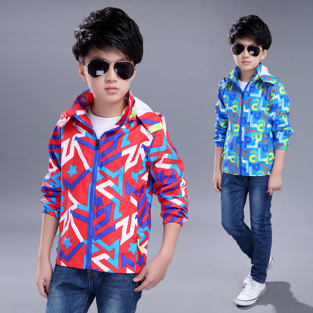 2017 spring and autumn fashion classic children's jacket boy 4-13 years old geometric printing Camouflage waterproof Jackets