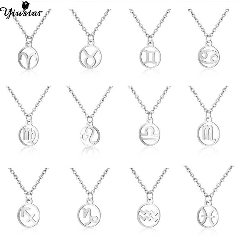 Yiustar Elegant Geometric Necklace Round Constellation Pendants Necklaces Women Round Stainless Steel Zodiac Astrology Jewelry