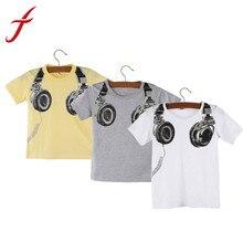 Feitong тройники летняя блузки майка коротким наушники мальчик топы повседневная рукавом