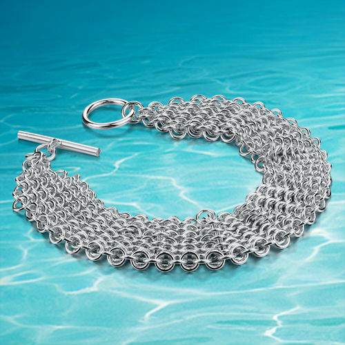 925 sterling silver jewelry bracelet women fashion Noble style bracelet Woven net silver ornaments wide