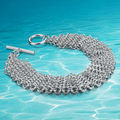 925 sterling silver jewelry bracelet women fashion.Noble style bracelet. Woven net silver ornaments, wide