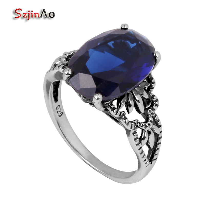 Szjinao fashion wedding ring antique jewelry women handmade sapphrie ring 925 sterling silver ring victoria wholesale