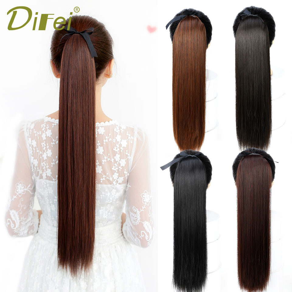 DIFEI Long Straight Synthetic Clip In Ponytail Hair Extensions High Temperature Fiber Drawstring Fake Hair Pony Tail