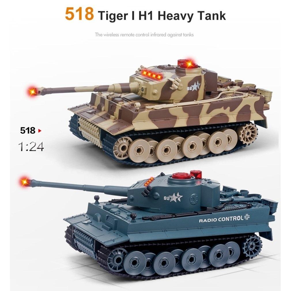 1/24 RC réservoir chenille IR télécommande jouets Simulation canon infrarouge Emmagee RC combat réservoir jouet RC voiture enfants cadeaux