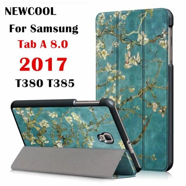 Tab A2 S T380 Color pintado cuero Flip cubierta para Samsung Galaxy Tab A 2 8,0 SM-T380 t385 T380 tableta