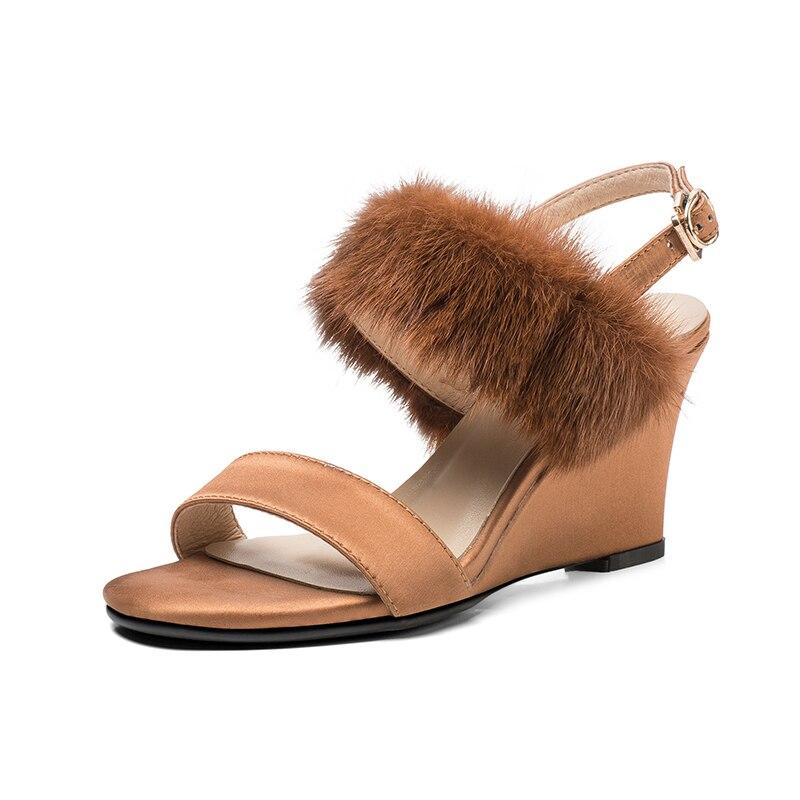 Mujeres La Para Hebilla Stylesowner Zapatos Sandalias marrón De Oficina Tacón Cuñas Mullido Señora Vestido Furry Negro Alto Talón Las XOwqRfw