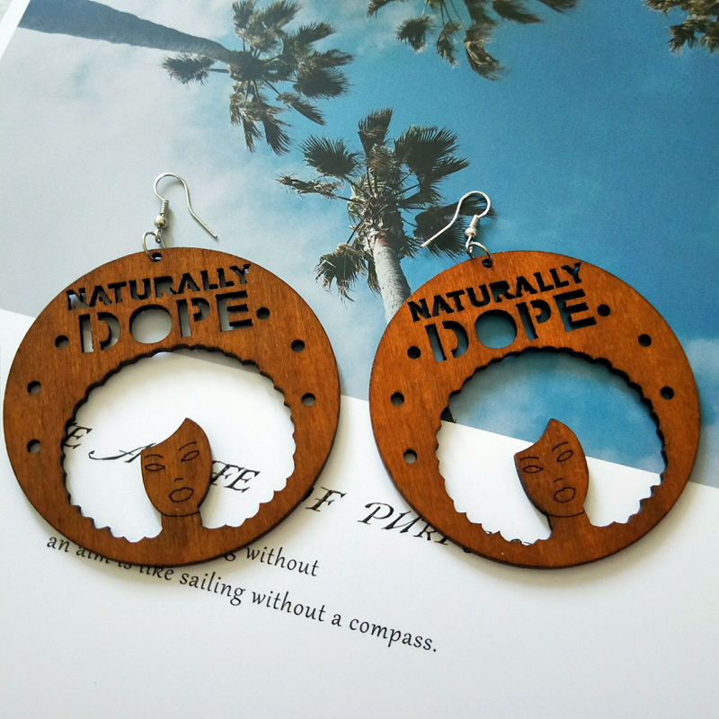 Brown Wood Hollow Out Africa Traditional Engraved Naturally Dope Letters Tribal Drop Earrings African Bohemia Afro Ear Jewelry