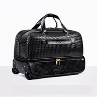 LeTrend черный прокатки Чемодан Spinner Для мужчин большой емкости Дорожная сумка чемоданы колесо 20 дюймов вести Для женщин Сумки