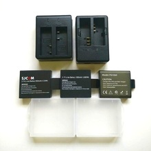 SJCAM EKEN Soocoo caricabatterie originale batteria 1050/1350mAh per sj4000 Sj5000 M10 c30 H9 H5S THIEYE T5E 7 accessori per fotocamere