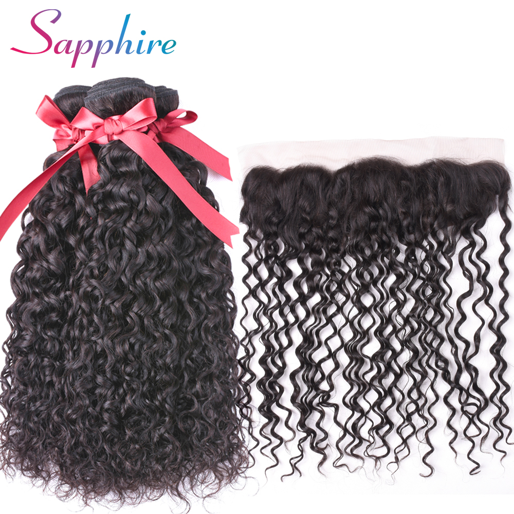 SAPPHIRE Peruvian Water Wave Human Hair 3 Bundles with Lace Frontal 13*4 Free Part Human Hair Bundles Free Shipping